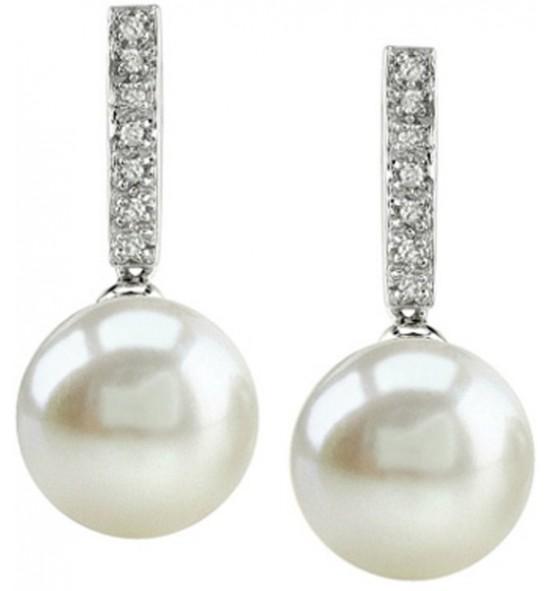 Diamonds and Pearl Earrings